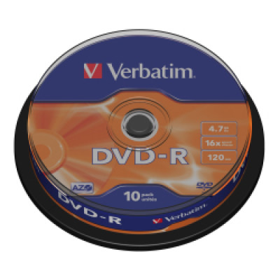 DVD-R Verbatim 4.7GB 16× Matt Silver 10 pack spindle/V043523