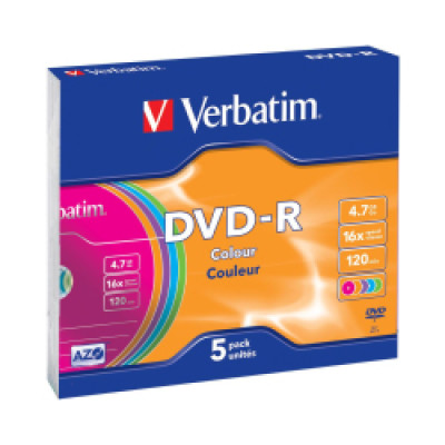 DVD-R Verbatim 4.7GB 16× Pastell Colours 5 pack Slimcase  -AKCIJA