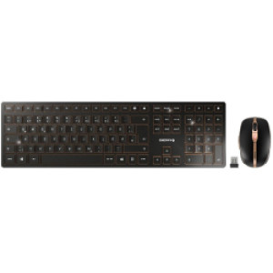 Cherry DW-9000 Slim bežična/BT tipkovnica + miš, AES-128 enkripcija, crna
